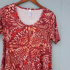 Lularoe Floral Burgundy Perfect Tee SS Small